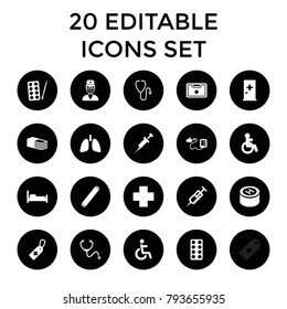 Hospital icons. set of 20 editable filled hospital icons such as disabled, aid post, paints, bed, syringe, medical cross tag. best quality hospital elements in trendy style.