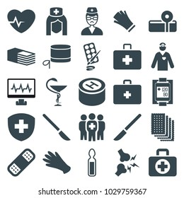 Hospital icons. set of 25 editable filled hospital icons such as gloves, bandage, doctor, blood pressure measure, medical group, medicine, hospital, paints, first aid