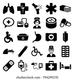 Hospital icons. set of 25 editable filled hospital icons such as disabled, lungs, case with heart, first aid kit, blod pressure tool, drop counter, pill, bandage, stomach