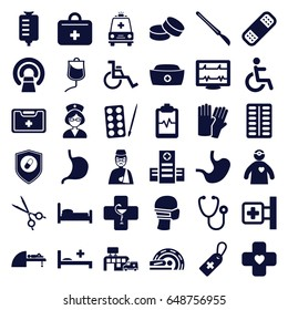 Hospital icons set. set of 36 hospital filled icons such as paints, glove, tablet, heartbeat, medical cross, hospital, stethoscope, medical cross tag, drop counter, pill