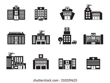 hospital icons set on white background, vector
