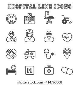 hospital line icons, mono vector symbols