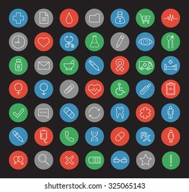 Hospital linear icons set. Medical center white line art illustrations on color circles. Healthcare and medicine round outline symbols. Pharmacy items. Vector clinic infographics elements