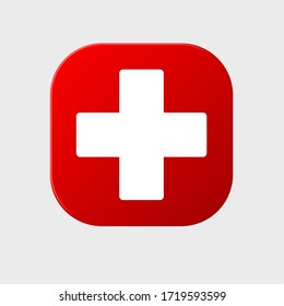 Hospital Logo On Red Background.
