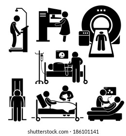 Hospital Medical Checkup Screening Diagnosis Diagnostic Stick Figure Pictogram Icon Cliparts