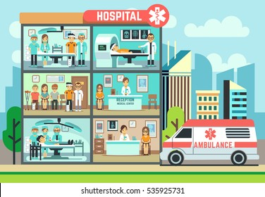 Hospital, medical clinic building, ambulance with patients and doctors healthcare vector flat illustration. Surgery room in hospital, waiting room and operating.