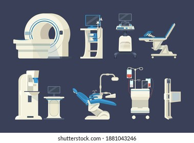 Hospital medical diagnostic equipment. Medical devices, health system, monitoring. Tomograph, scanner, x-ray, dentist chair, mammography, blood transfusion gynecology, fluorography, wheelchair vector