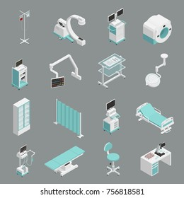 Hospital medical equipment isometric icons collection with operation table patient bed infuse and mri scanner isolated vector illustration