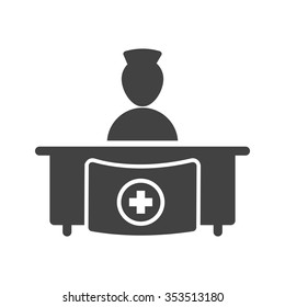 Hospital, medical, reception icon vector image. Can also be used for healthcare and science. Suitable for use on web apps, mobile apps and print media.
