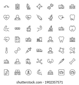 Hospital and medical set line icons in flat design with elements for web site design and mobile apps.  Collection modern infographic logo and symbol. Hospital and medical vector line pictogram