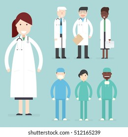 Hospital medical staff. Doctors and surgeons. Vector flat characters set