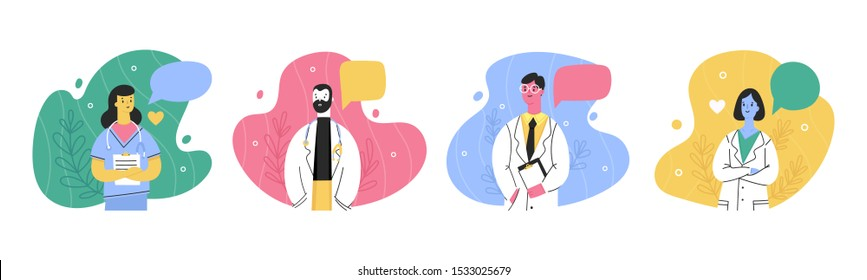 Hospital medical staff with speech bubbles. Male, female medicine workers. Doctor, surgeon, physician, paramedic, nurse. Hand drawn colored vector illustration. Cartoon style characters. Flat design