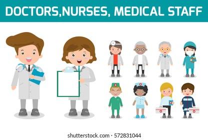 Hospital medical staff team doctors nurses surgeon, Vector illustration.