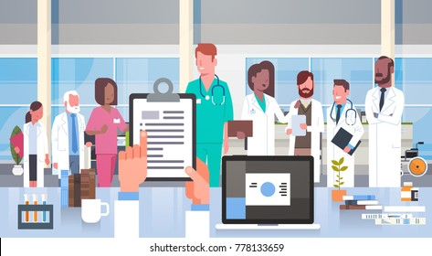 Hospital Medical Team Group Of Doctors In Modern Clinic Hospital Staff Flat Vector Illustration