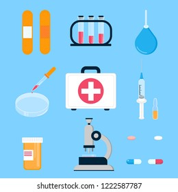 Hospital medicine first aid kit and laboratory equipment for analysis, vaccines and cure people science things  flat style design vector illustration isolated on light blue background.