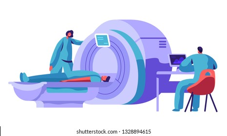 Hospital Mri Machine for Patient Brain Scan. Doctor Research Man Character Health with Computer Tomography Resonance Scanner. Healthcare Diagnostic Concept Flat Cartoon Vector Illustration