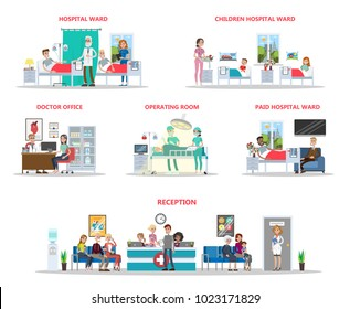 Hospital offices illustration with interiors and patients on white.