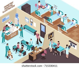 Hospital with people ward equipment reception and doctors isometric vector illustration