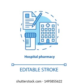 Hospital pharmacy concept icon. Medication idea thin line illustration. Intensive care pharmaceutical treatment. Ambulatory care prescription. Vector isolated outline drawing. Editable stroke