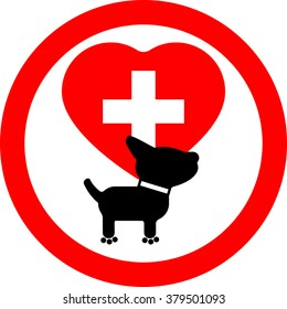Hospital, pharmacy for dogs. Taking care of physical condition, health, care for pets.