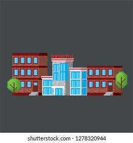 Hospital. Pixel art. Old school computer graphic. Element design stickers, logo, mobile app, menu. 8 bit video game. Game assets 8-bit sprite. 16-bit.