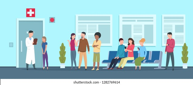 Hospital queue. Clinic reception waiting room medical office nurse receptionist doctor adult patient. Healthcare vector illustration