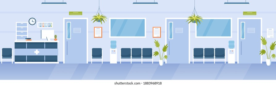 Hospital reception hall clinic interior. Cartoon modern empty medical hallway with bench for waiting patients, receptionist desk counter, no people medicine office background