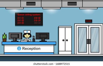 Hospital reception interior cartoon flat vector illustration. Queue calling system concept.
