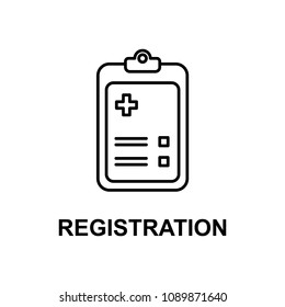 hospital registration icon. Element of treatment with name for mobile concept and web apps. Thin line hospital registration icon can be used for web and mobile. Premium icon on white background