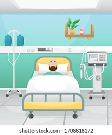 A hospital room with a bed, a drip and a ventilator. The patient is lying in bed. Fighting coronavirus in hospitals.