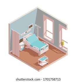 Hospital room intensive therapy interior. Include a bed, bedside cabinet, curtains and others hospital equipment. Vector isometric illustration isolated on white.