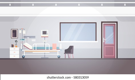 Hospital Room Interior Intensive Therapy Patient Ward Banner With Copy Space Flat Vector Illustration