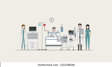 Hospital room with a sick doctors and nurses