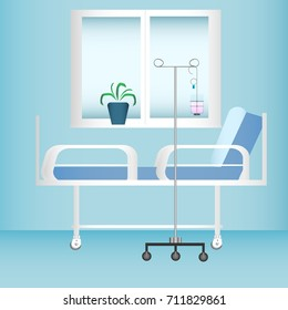 Hospital room with window, bed and dropper. Vector illustration.