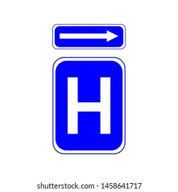 Hospital sign. Arrow showing the location of the hospital sign