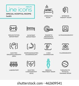 Hospital special rooms - modern vector plain simple thin line design icons and pictograms set. Intensive therapy, resuscitation, in-patient, tomography, ECG, EEG, x-ray, fluorography, laboratory