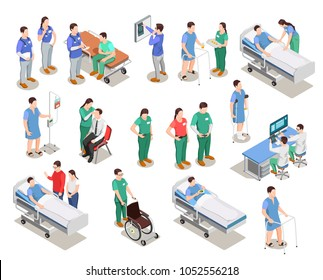 Hospital staff, doctors and patients, medical examination, clinic equipment, set of isometric people isolated vector illustration
