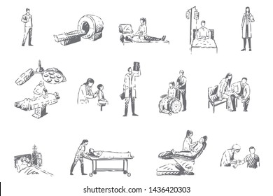 Hospital staff and patients, medicine concept sketch. Health care system, radiology, traumatology and pediatrics departments, vaccination process, medical treatment set. Isolated vector illustration