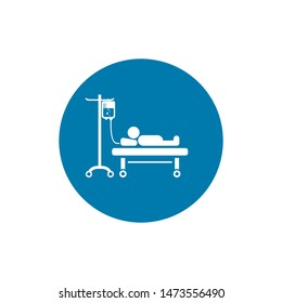 Hospital stretcher bed iv icon isolated recovery injecting intravenous.