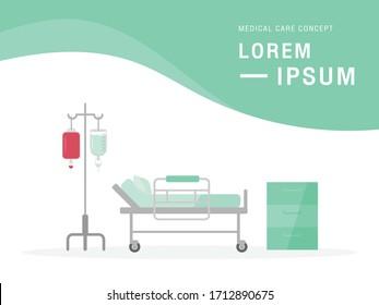 Hospital stretcher bed on wheels. Medical equipments.
