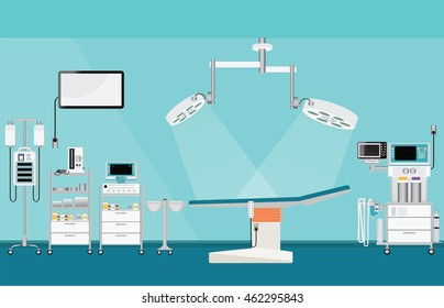 Hospital surgical suite with medical equipment.