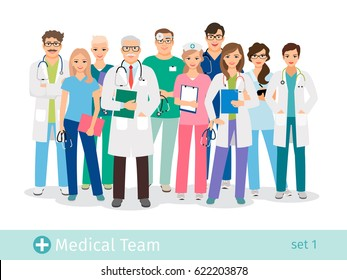Hospital team isolated on white background. Doctor and assistant, nurses and medical helping group vector illustration