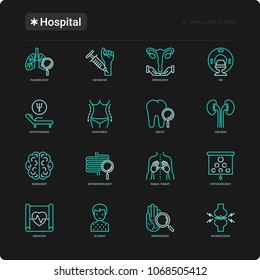 Hospital thin line icons set for doctor's notation: neurologist, gastroenterologist, manual therapy, ophtalmologist, cardiology, allergist, dermatologist. Vector illustration for balck theme.