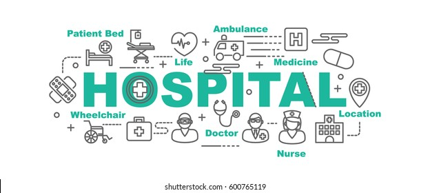 hospital vector banner design concept, flat style with thin line art icons on white background