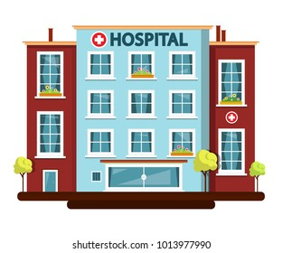 Hospital Vector Flat Design Building Isolated on White Background.