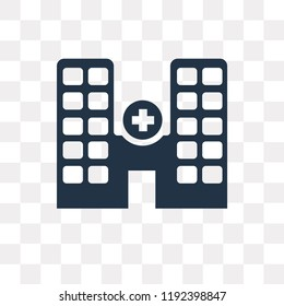 Hospital vector icon isolated on transparent background, Hospital transparency concept can be used web and mobile