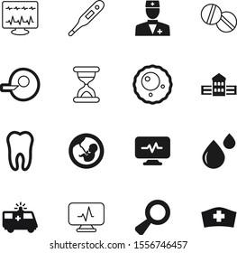 hospital vector icon set such as: fever, equipment, station, library, chemistry, auto, lupe, transportation, university, reproduction, detective, search, scale, capsule, wait, profession, hour