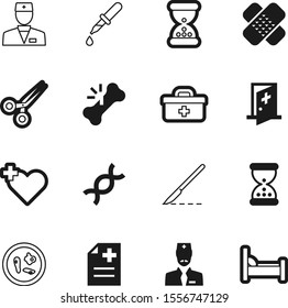 hospital vector icon set such as: sterilized, bones, stem, scissors, aid, droplet, hiv, heart, surgery, genetic, infection, technology, blade, broken, evolution, biology, element, bandage, briefcase