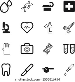 hospital vector icon set such as: zoom, potion, handle, scalpel, pulse, tomography, scanner, safety, biology, virus, vial, sex, kit, protective, eyedropper, swiss, square, crutches, drink, sterilized