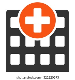 Hospital vector icon. Style is bicolor flat symbol, orange and gray colors, rounded angles, white background.